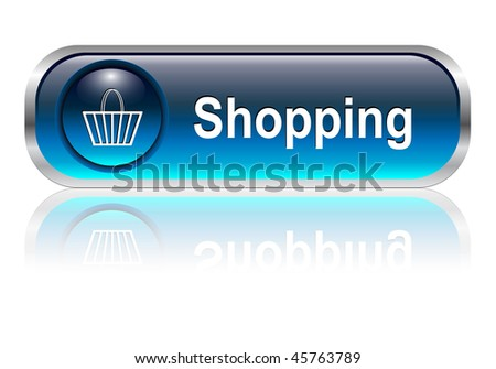Shopping cart, buy icon button, blue glossy with shadow, vector illustration - stock vector