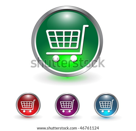 Shopping cart, buy icon button, multicolored set.