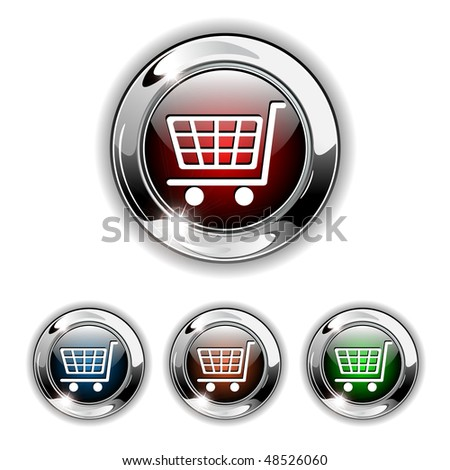 Shopping cart, buy icon, button. Realistic vector illustration. - stock vector