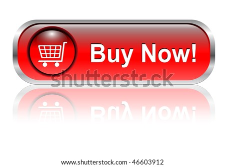 Shopping cart, buy icon button, red glossy with shadow, vector - stock vector
