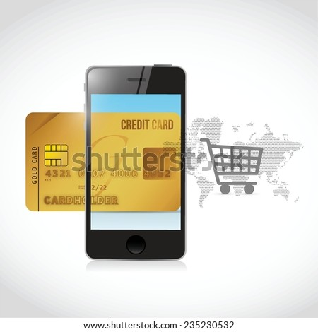 shopping cart cell phone and credit card illustration design over a white background