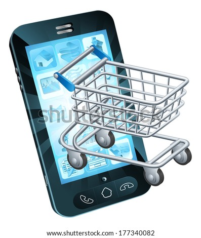 Shopping cart cell phone concept of a mobile phone with a shopping trolley coming out - stock vector