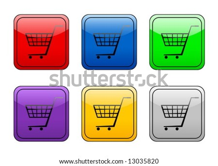 Shopping cart color web icon. Vector illustration
