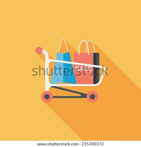 shopping cart flat icon with long shadow,eps10 - stock vector