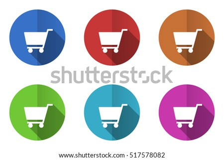 Shopping cart flat vector icons