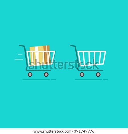 Shopping cart full and shopping cart empty vector icons, fast moving full trolley, basket sign, flat cartoon illustration design isolated on blue background - stock vector