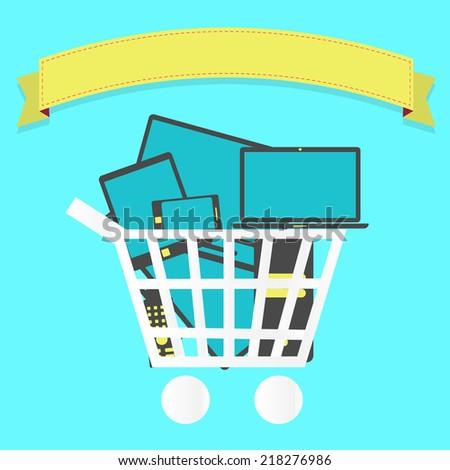 Shopping cart full of electronics. Shopping cart full of electronics: tablet, smartphone, laptop, tv. Blank ribbon for insert text. - stock vector