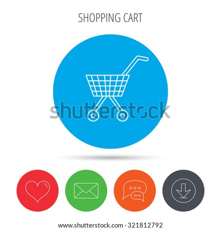 Shopping cart icon. Market buying sign. Mail, download and speech bubble buttons. Like symbol. Vector