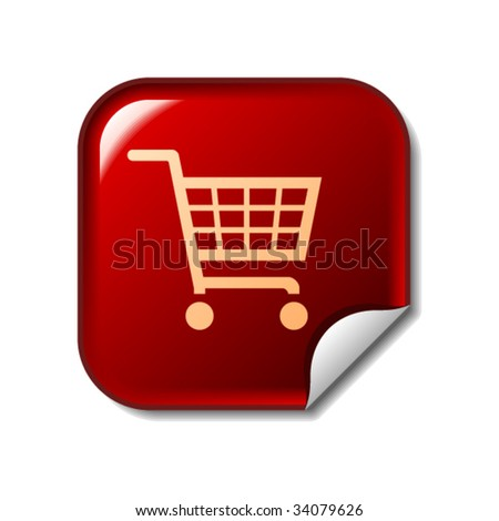 Shopping cart icon on red sticker - stock vector