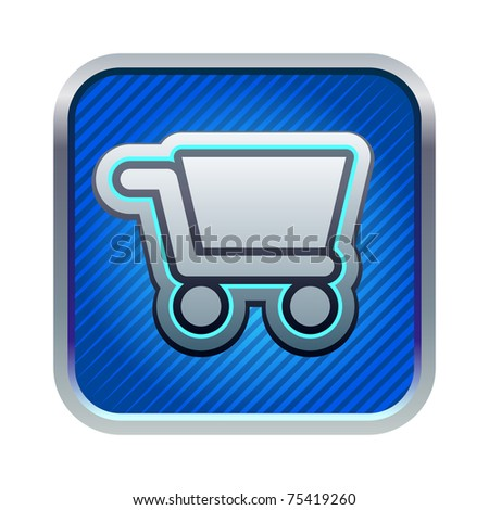 Shopping Cart icon on square internet button - stock vector