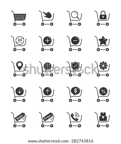 Shopping Cart icon on White Background Vector Illustration