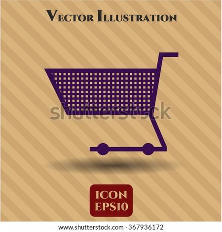Shopping cart icon or symbol - stock vector