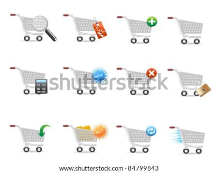 shopping cart icon set - stock vector