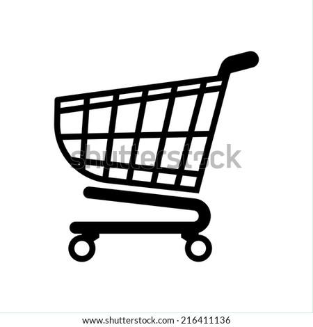 shopping cart icon, shopping basket design - stock vector