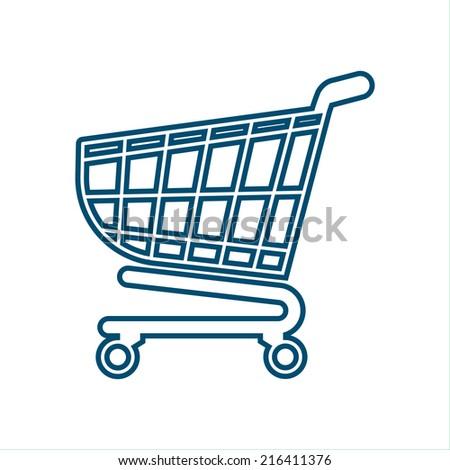 Shopping cart icon, trolley, shopping basket design- vector illustration - stock vector