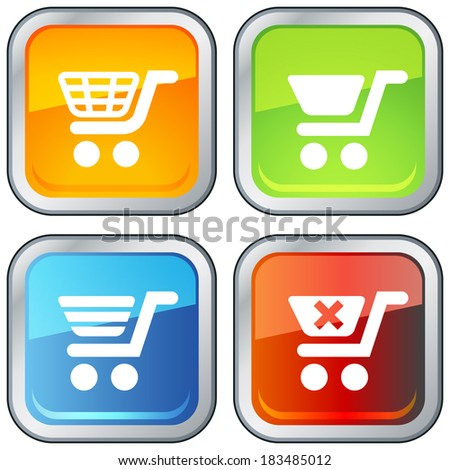 Shopping Cart Icon with Button Base - Illustration