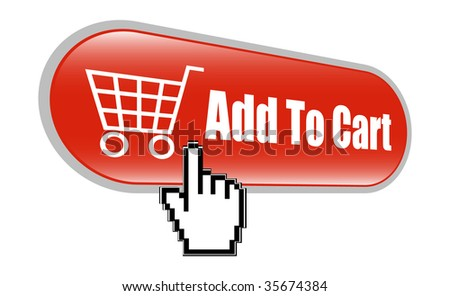 Shopping Cart Icon with Mouse Hand Cursor - stock vector