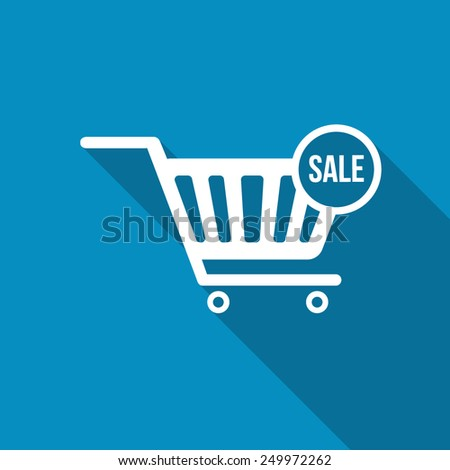 Shopping Cart Icon with SALE text. Modern design flat style icon with long shadow effect - stock vector