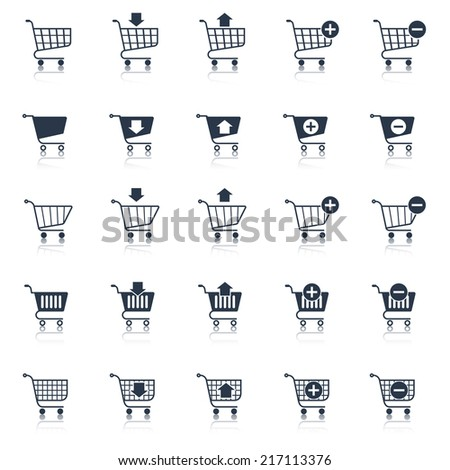 Shopping cart icons black e-commerce web design elements set isolated vector illustration - stock vector
