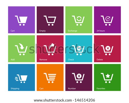 Shopping cart icons on color background. Vector illustration. - stock vector