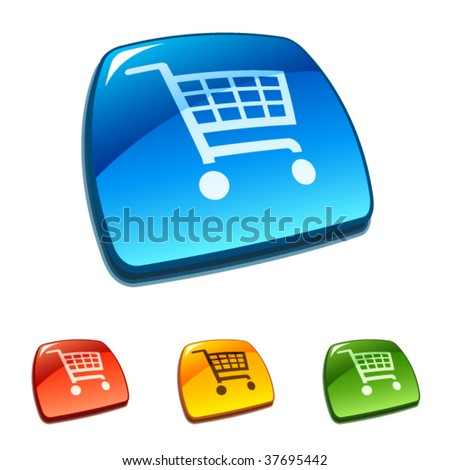 Shopping cart icons on web buttons