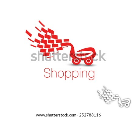shopping cart logo, shopping basket design- vector illustration - stock vector