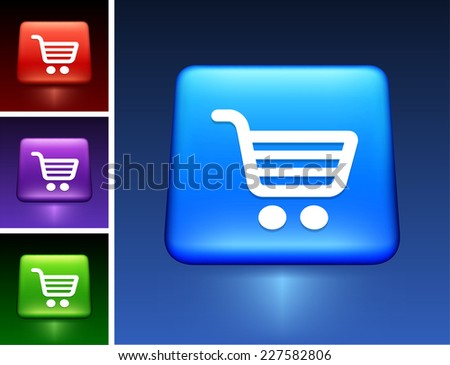 Shopping Cart on Blue Square Button
