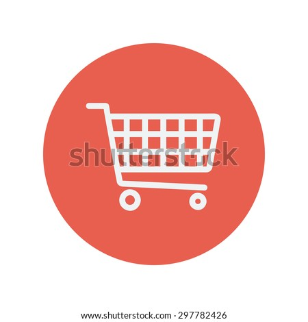 Shopping cart thin line icon for web and mobile minimalistic flat design. Vector white icon inside the red circle. - stock vector