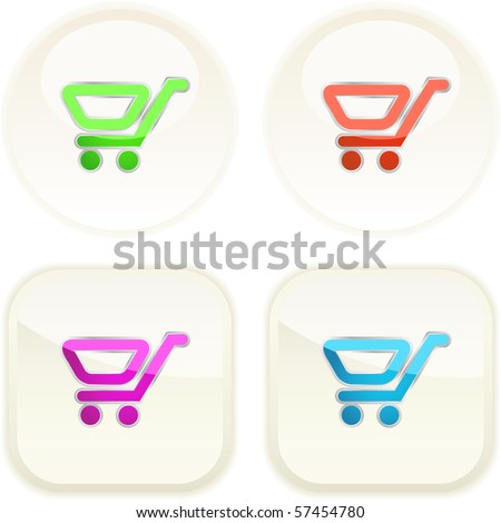 Shopping cart. Vector button. - stock vector
