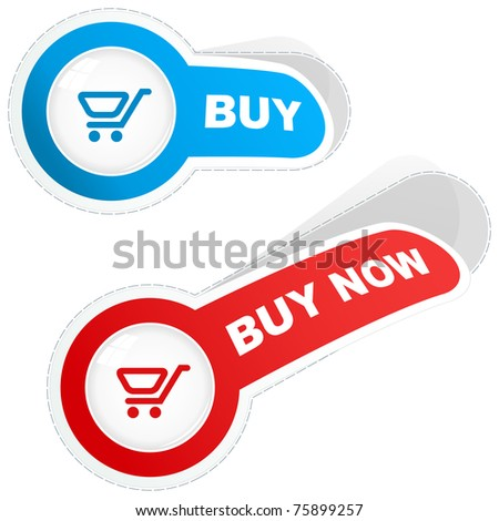 Shopping cart. Vector stickers. - stock vector