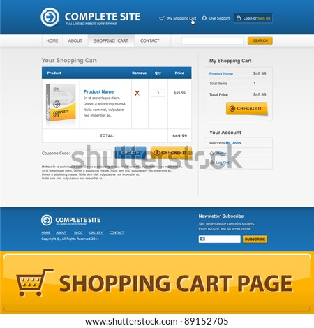 Shopping cart web design template. Vector EPS10.