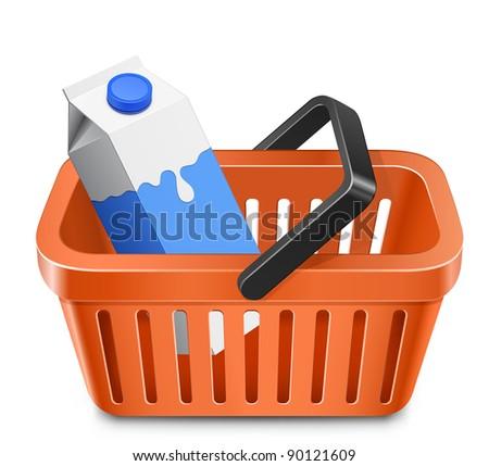 Shopping cart with a milk carton. Vector illustration - stock vector