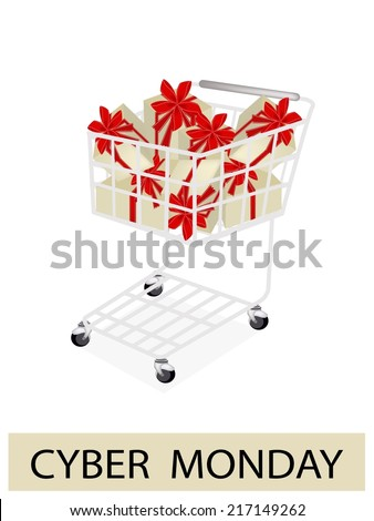 Shopping Cart with Cyber Monday Sale Banner, Sign for Start Christmas Shopping Season and Biggest Discount Promotion in A Year.