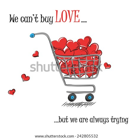 Shopping cart with hearts drawing - stock vector