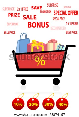 Shopping cart with many bags and presents