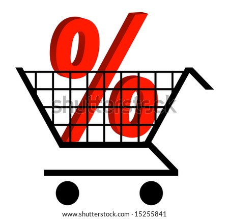 shopping cart with percentage sign in the cart - stock vector