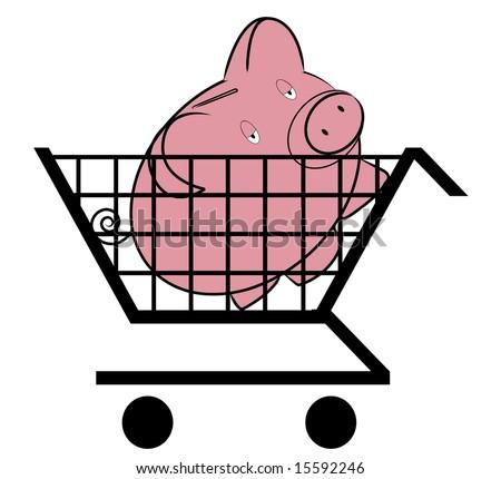 Shopping cart with piggy inside - money concept - stock vector