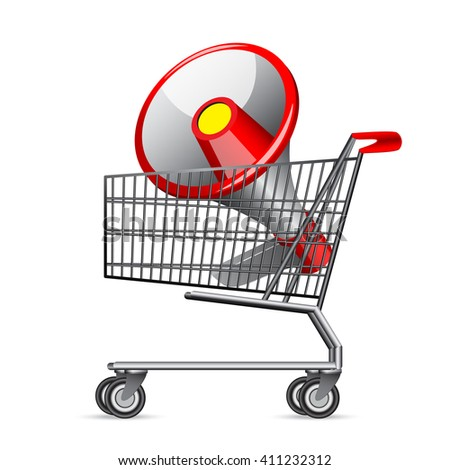 Shopping Cart with Red Megaphone - stock vector
