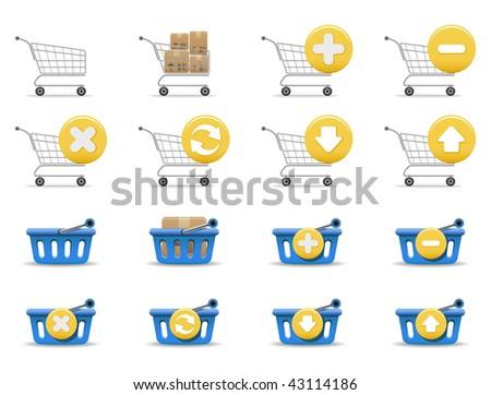 Shopping carts and baskets - stock vector