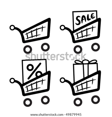 Shopping carts icon set - stock vector