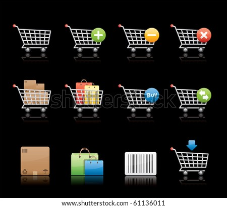 Shopping Carts icon set 21 � Glossy Black Series.  Vector EPS8 format, easy to edit. - stock vector