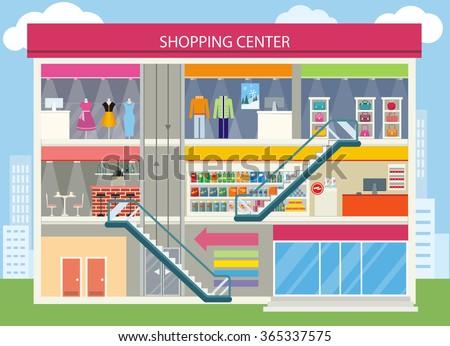 Shopping center buiding design shopping mall stock vector for Boutique center