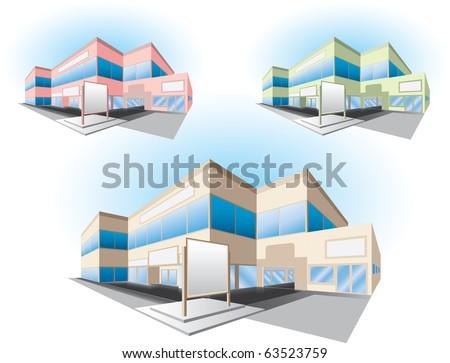 shopping center building - stock vector
