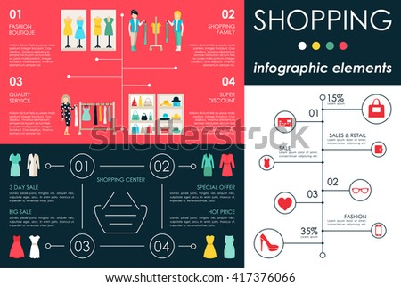 Shopping Center concept Retail infographic flat web vector illustration. Info, Graphic, People, Room, Shop, Boutique. Presentation timeline