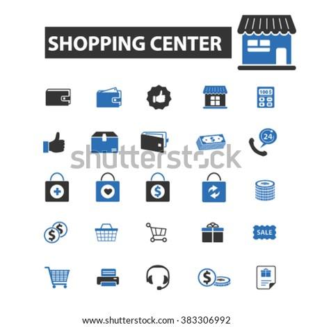 shopping center icons - stock vector
