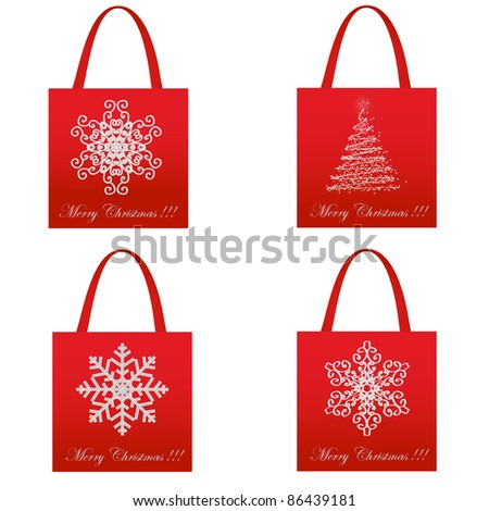 Shopping Christmas Package Set - stock vector