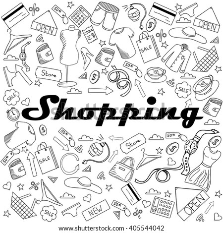 Shopping coloring book line art design vector illustration. Separate objects. Hand drawn doodle design elements.