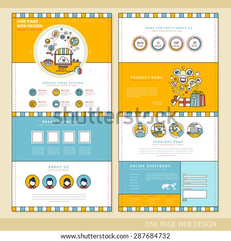shopping concept one page website design template in flat style - stock vector