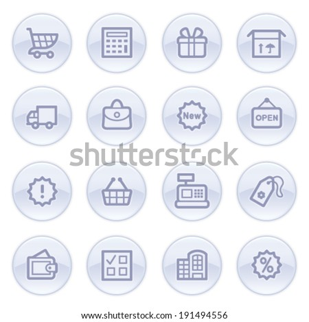 Shopping contour icons on blue buttons.