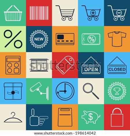 Shopping contour vector icons - stock vector
